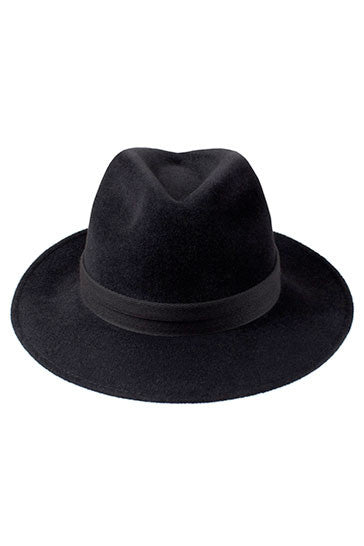 Luxury black trilby hat for women with a black herringbone band