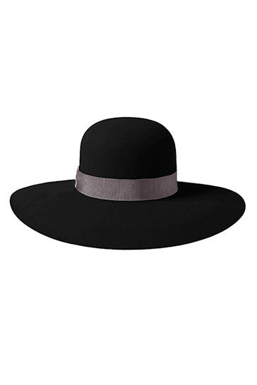 Ladies black wide brimmed hat with grey ribbon and silver ring detail