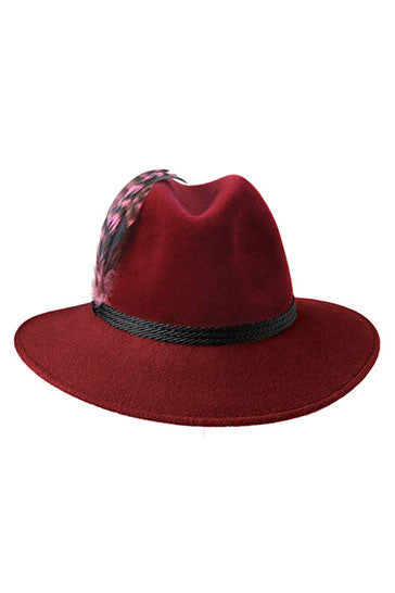 Ladies classic fedora style hat in burgundy with pink feather