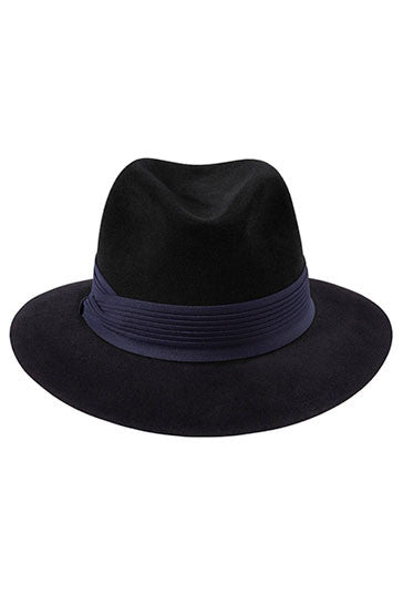 Womens black fur felt fedora hat with a navy blue pleated band
