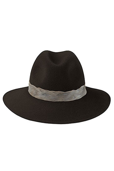 Designer fedora hat for women in brown fur felt with duck feather band