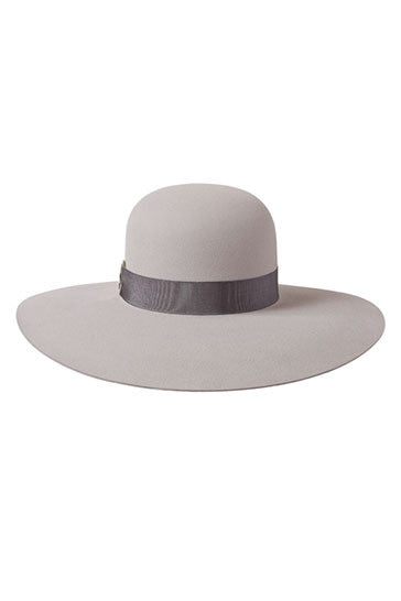 Ladies stone wide brimmed hat with grey ribbon and silver ring detail