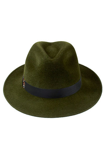 Ladies designer classic trilby hat in green with leather and feather band