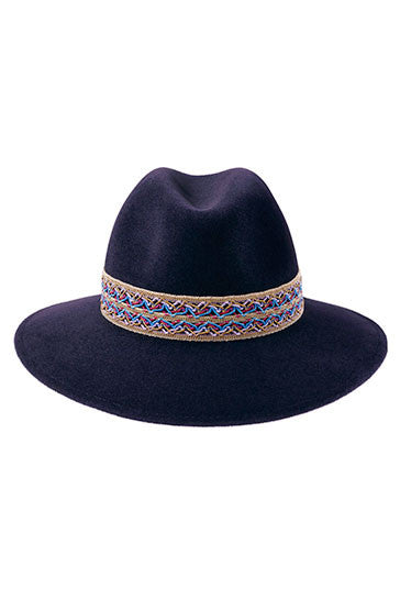 Midnight blue fedora hat for women with gold beaded woven festival band