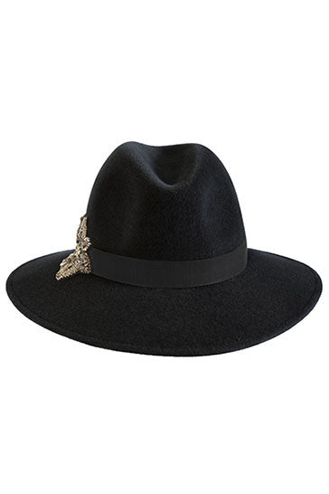 Ladies classic fedora style hat in black fur felt with black ribbon and handmade beaded motif