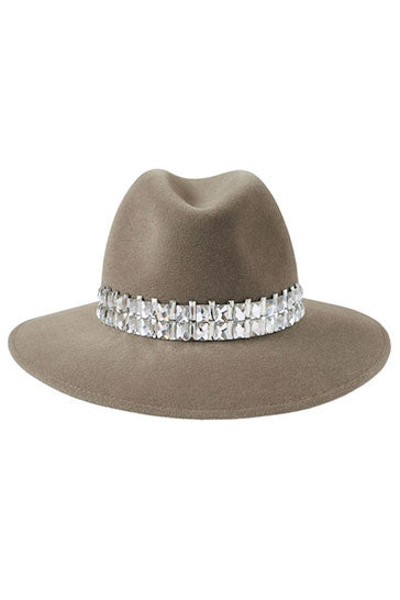 Mink fur felt fedora hat for women embellished with Swarovski crystals