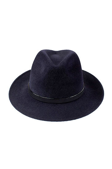 Luxury trilby hat in midnight blue with handmade leather band