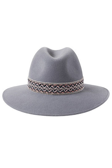 Dove grey fedora hat for women with silver beaded woven festival band