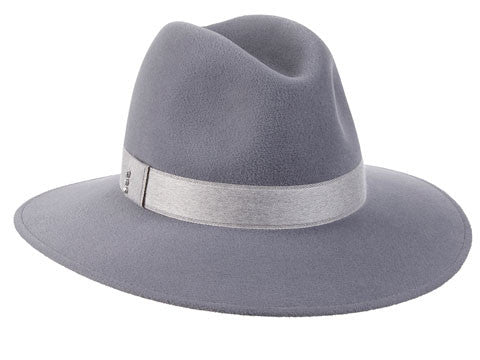 Dove grey fedora hat for women with grey ribbon and bead detail