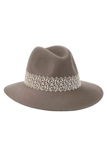 Mink fur felt fedora hat for women with cream lace band