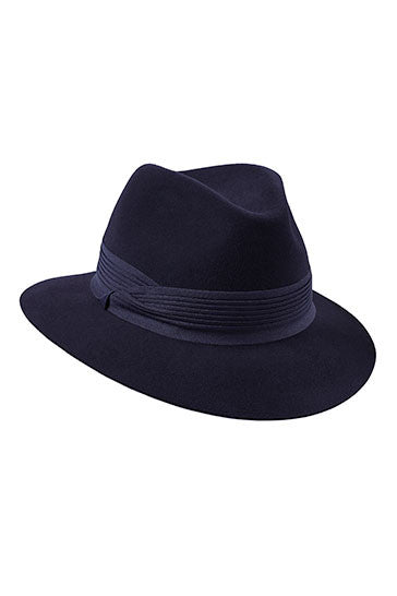 Womens navy fur felt fedora hat with a navy blue pleated band