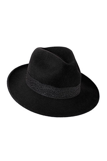Ladies designer trilby hat for women with black lace band
