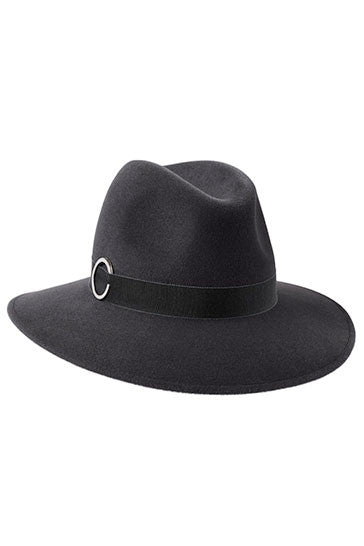 Ladies classic fedora style hat in grey fur felt with grey ribbon and silver ring