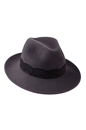 Ladies designer classic trilby hat in grey with black lace band