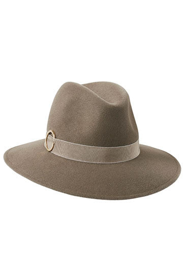 Womens wide brimmed fedora hat in mink fur felt with gold ring detail