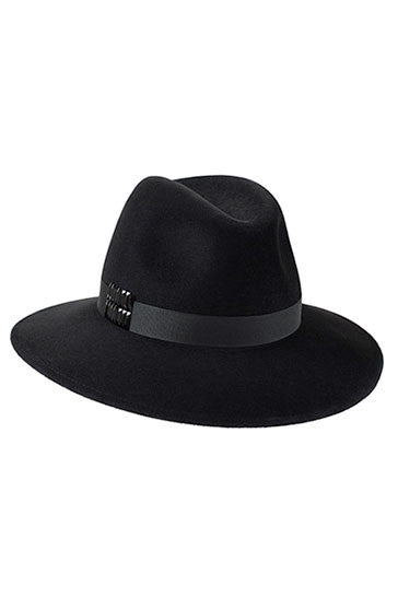 Ladies classic fedora style hat in black fur felt with black ribbon and Swarovski crystals