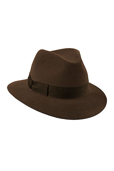 Womens classic fedora style hat in brown with a brown ribbon