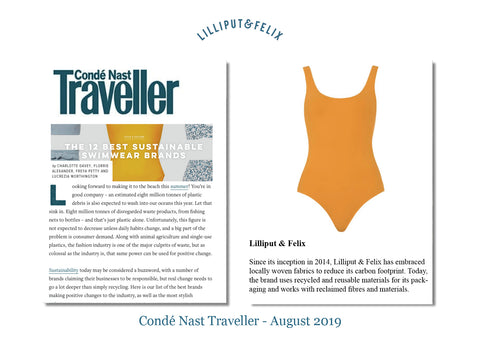 Lilliput & Felix recycled swimsuit featured in Conde Nast Traveller Top Sustainable Swimwear Brands