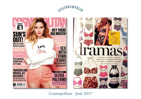 Cosmopolitan magazine features Lilliput & Felix retro swimwear brand's high-waisted balconette bikini in green crochet