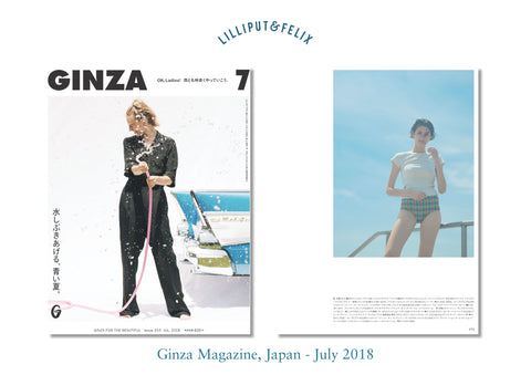 Lilliput & Felix sustainable swimwear featured in Ginza Magazine Japan's article with the Anastasia ruffle high-waisted bikini in Orange Rainbow Gingham