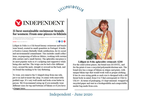 Lilliput & Felix one of 11 best sustainable swimwear brands for women by the Independent