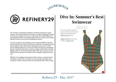 Refinery29 features Lilliput & Felix retro swimwear brand's Lilium multi-tie gingham swimsuit