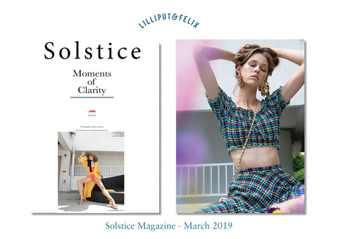Lilliput & Felix Anastasia seersucker bikini top and Calypso skirt featured in Solstice Magazine