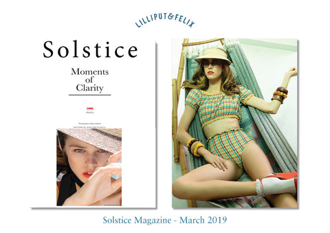 Lilliput & Felix Anastasia high-waist seersucker bikini featured in Solstice Magazine