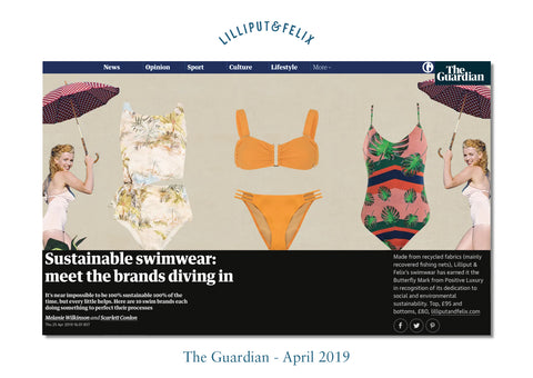 Sustainable Swimwear in The Guardian features yellow bikini by Lilliput & Felix