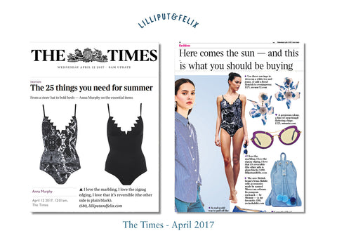 Luxury reversible zig-zag swimsuit- the Pas de Chat by Lilliput & Felix in black and black marble- featured in the Times Fashion section of the newspaper