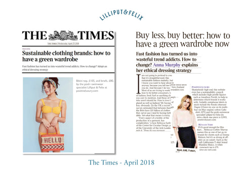 Lilliput & Felix premium flattering sustainable swimwear & beachwear featured in the Times