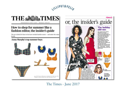 The Times features Lilliput & Felix swimwear - gingham and yellow bandeau flattering bikinis with removable and adjustable straps