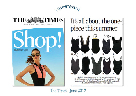 The Times magazine features Lilliput & Felix retro swimwear brand's multi-tie reversible swimsuit- the Arabesque in Black and Black Marble
