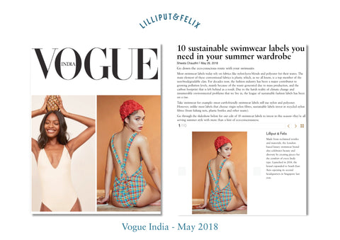Lilliput & Felix Sustainable swimwear and beachwear featured in Vogue India's article on sustainable fashion