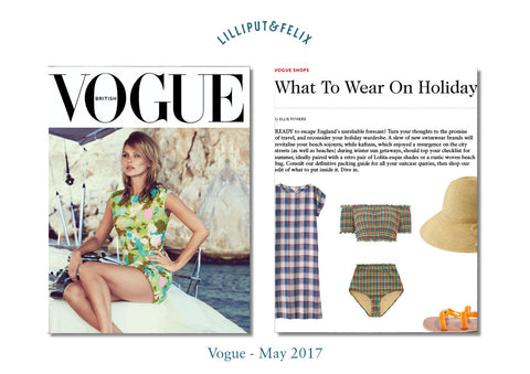 Lilliput & Felix featured in Vogue Magazine with Anastasia ruffle Bikini in Orange Rainbow Gingham