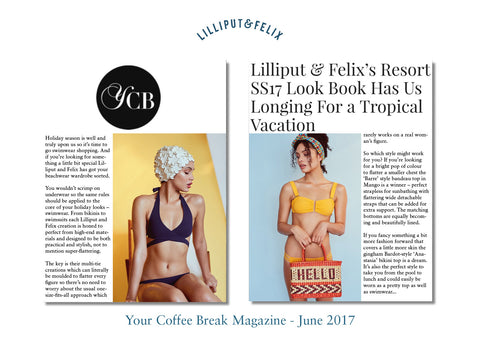 Your Coffee Break Magazine features Lilliput & Felix's swimwear and beachwear- multi-tie and gingham styles- retro shapes for all figures