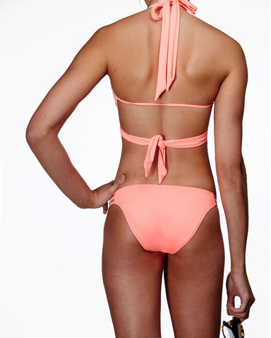 'Paeonia' ladder bikini briefs in 'Hot Coral'