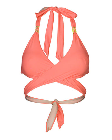 'Paeonia' curve bikini top in 'Hot Coral'
