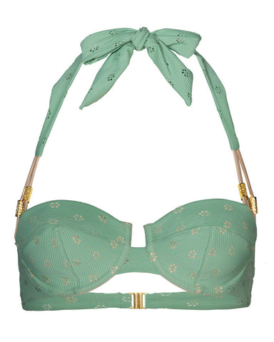 'Dahlia' balconette bikini top in 'Green Crochet'