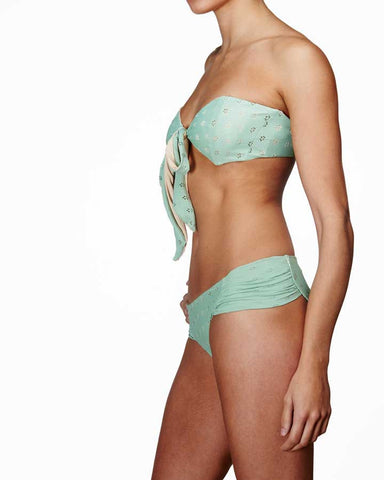 'Azalea' fan bikini brief in 'Green Crochet'