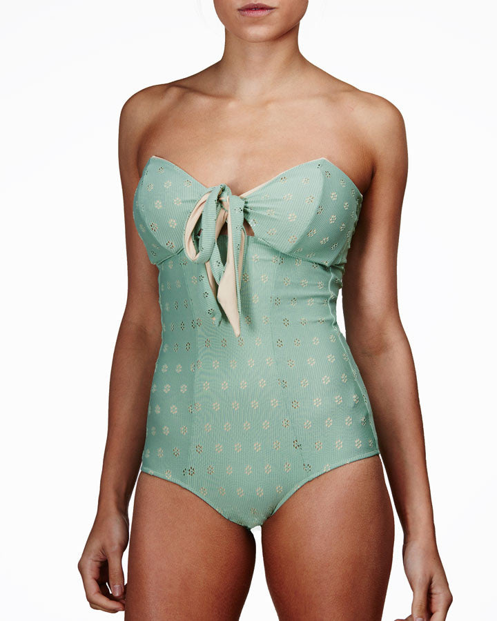 'Iris' swimsuit in 'Green Crochet'