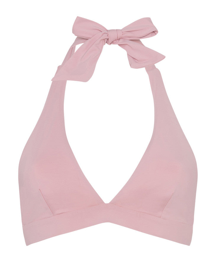supportive halterneck bikini top, reversible in a dusty rose colour