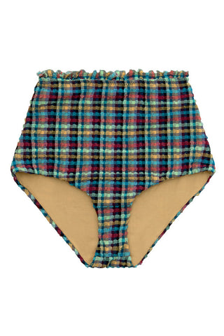 High waisted textured bikini bottoms with a ruffle waistband in a blue tartan print