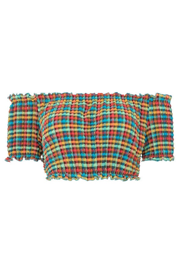 Off the shoulder textured bikini top with a ruffle sleeves in a multi colour rainbow tartan print