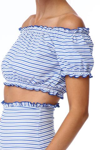 'Anastasia' ruffle bikini top in 'Blue Candy'