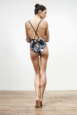 'Arabesque' Reversible swimsuit in 'Black Marble & Black'