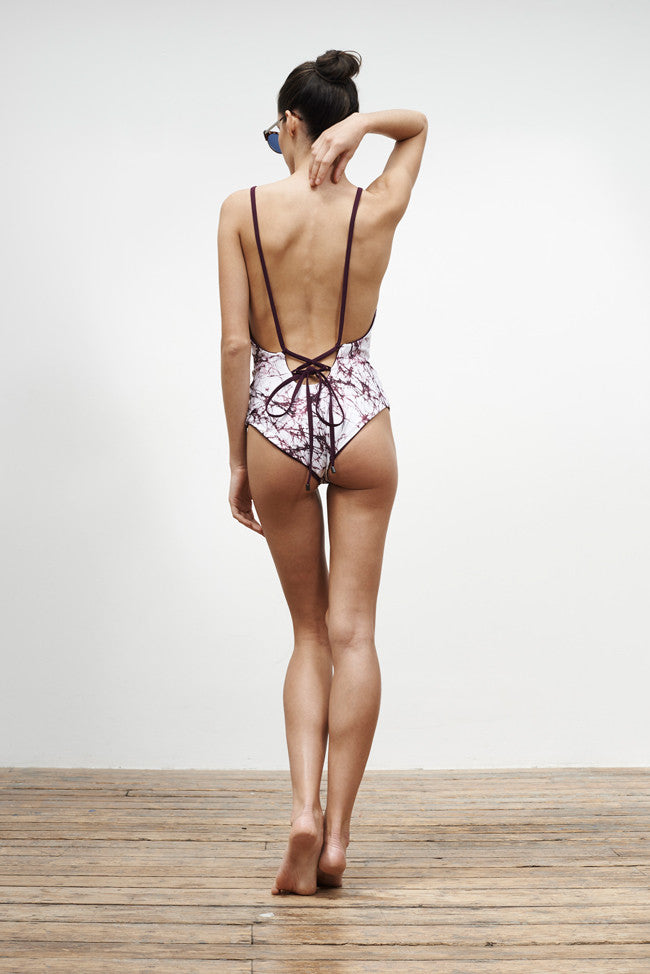 'Arabesque' reversible swimsuit in 'Maroon Marble & Maroon'