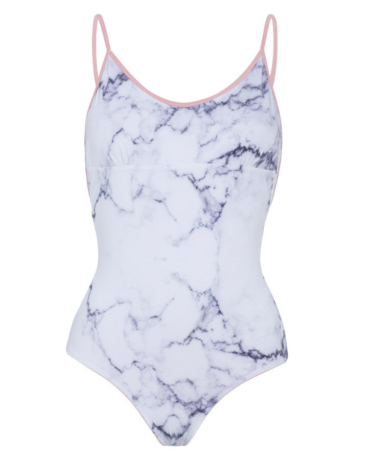 'Arabesque' reversible swimsuit in 'White Marble & Dusty Rose'