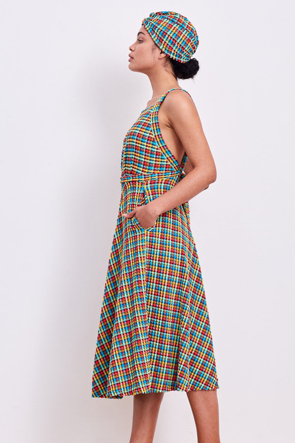 'Artemis' swim dress in 'Orange Rainbow Gingham'