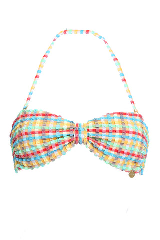 'Bardot' bikini top in 'Yellow Gingham'